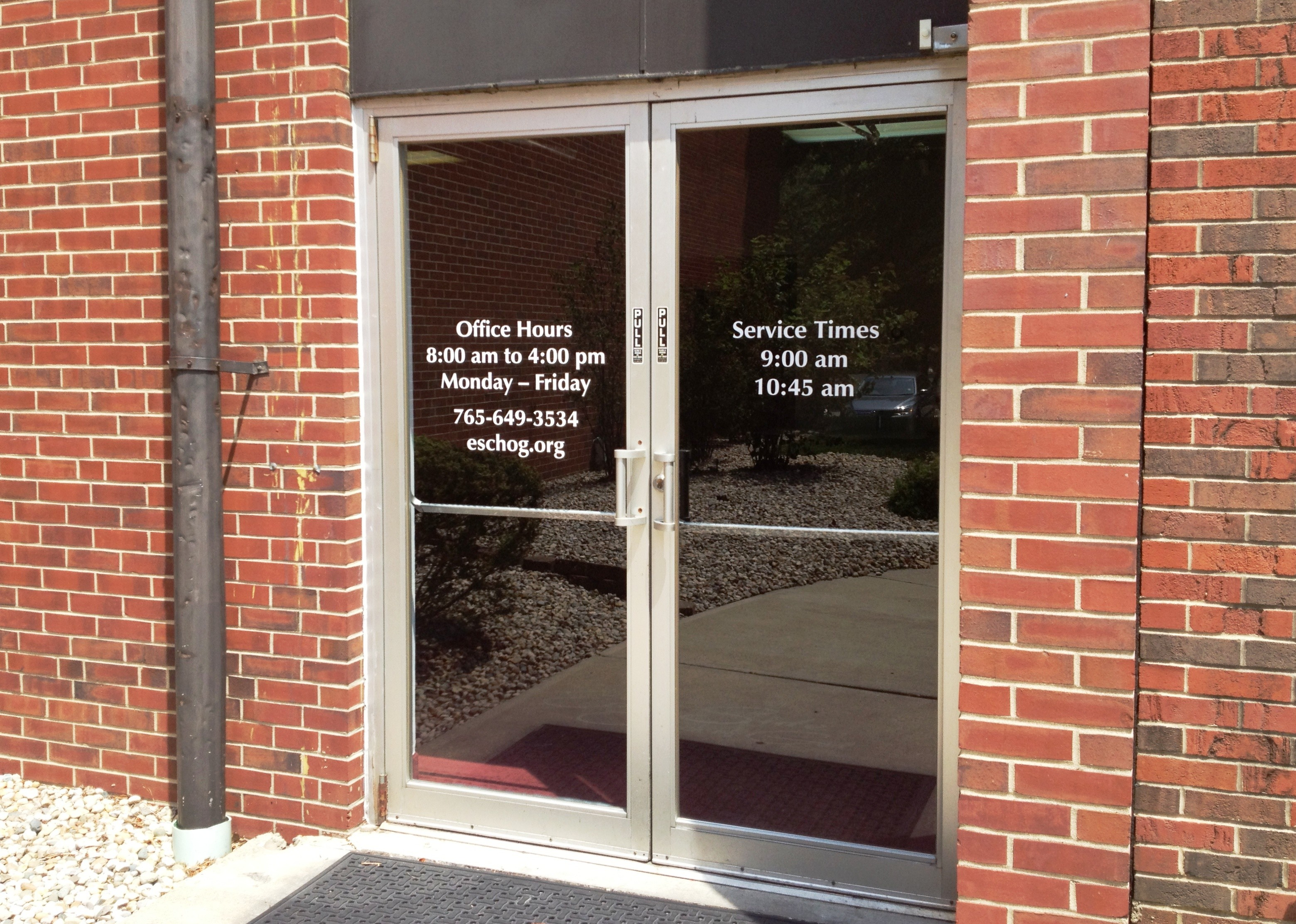 East side church of god exterior church signage for Door vinyl design